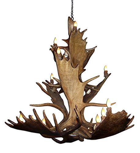 Moose antler chandeliers for sale real antler moose triple tier chandelier light mozeypictures Choice Image
