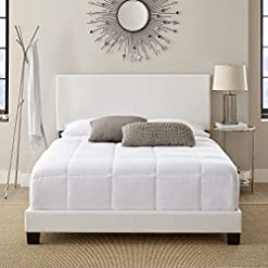 Bedroom King Bed Frame UPHOLSTERED Faux Leather Platform King Size Bed Frame Chic and Modern Heavy-Duty Construction King Bed… modern beds and bed frames