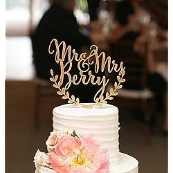 Custom wedding cake topper, personalized cake topper, rustic wedding cake topper, names cake topper, leaf design cake topper