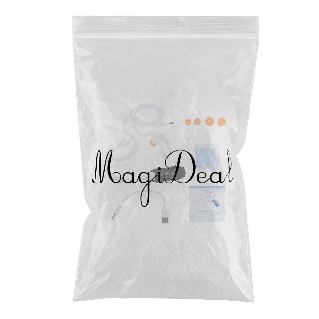Rosado MagiDeal Reproductor de MP3 Clip Impermeable con de 8GB Auriculares Incorporado en Tarjeta de Memoria