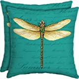 """Mainstays Outdoor Patio 16"""" Square Toss Pillow, Set of 2, Muree Primrose (Dragonfly)"""
