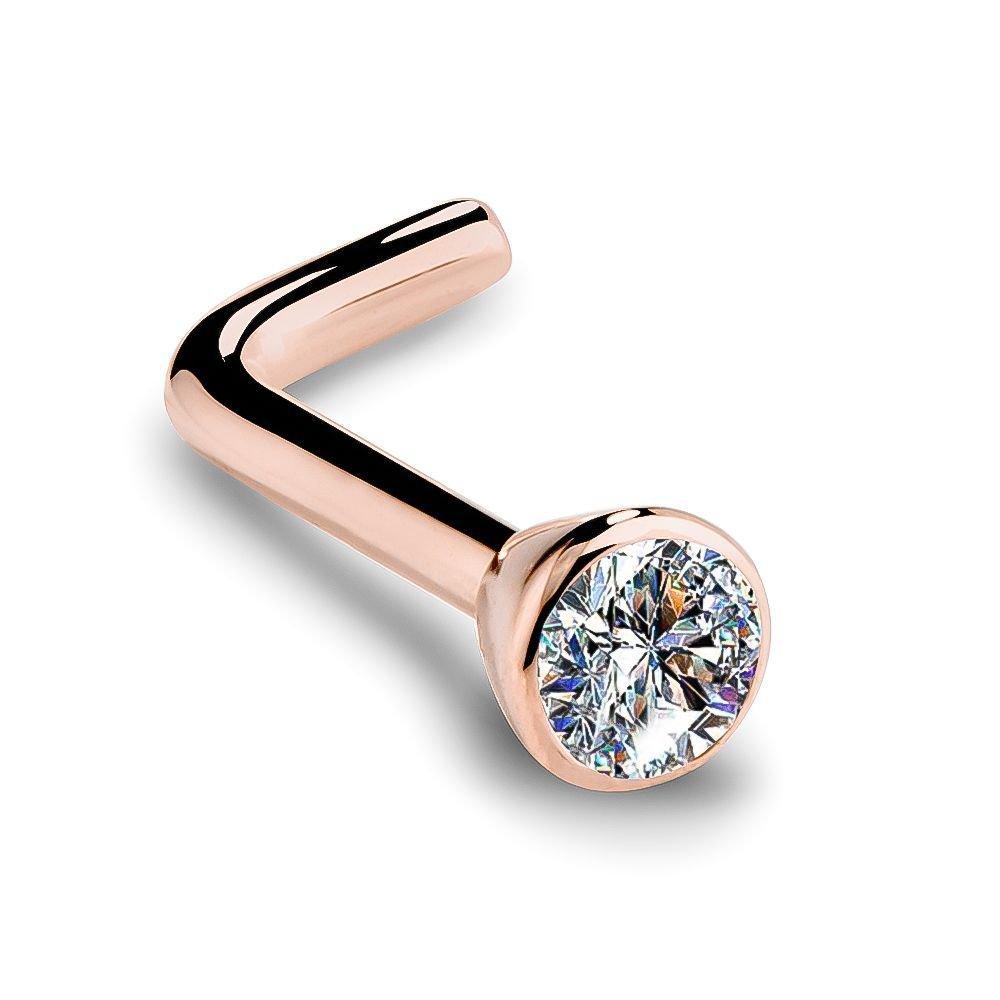 SI1 1.5mm 0.015ct. t.w. Diamond Flush Bezel Set Diamond 14K Rose Gold L-Shape Nose Ring 18G
