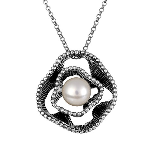 Paz Creations .925 Sterling Silver Cultured Freshwater Pearl Necklace, Made in Israel
