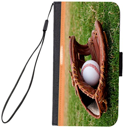 Rikki Knight Magnetic Clasp Closure Folio Case for Apple iPhone 7 Plus/ iPhone 8 Plus - Baseball with Glove (Baseball Watch Rotating)