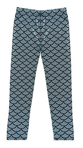 AbbyLexi Girls Shiny Night Club Mermaid Fish Scale Print Leggings Pants