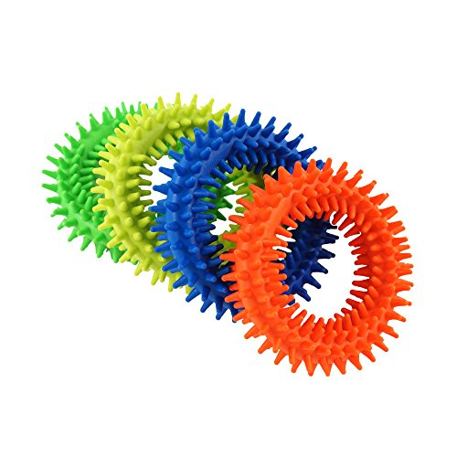 Spiky Sensory Ring Fidget Toys (Pack of 4), Stress Relieve Toy,Sensory toys,Helped with ADHD ADD OCD Autism, Depressions and Anxiety disorders. BPA/Latex/ Phthalate Free