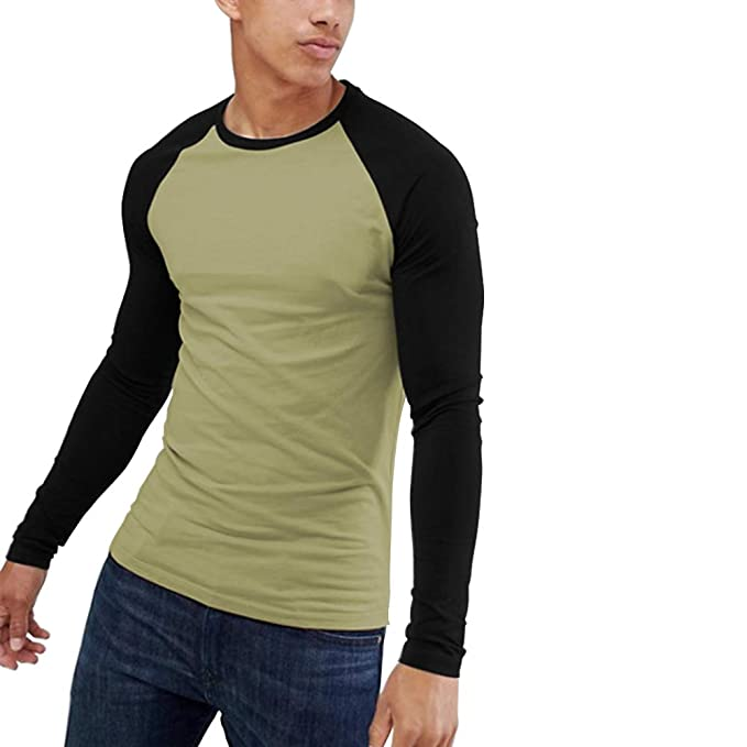 bede8963 Men's Muscle Fit Long Sleeve Contrast Raglan Baseball T Shirt Army Green  Black S