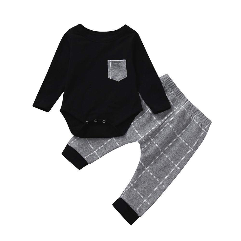 2pcs Toddler Baby Boys Clothes Set Long Sleeve Plaid Print Tops Romper +Pants Infant Outfits Set by LuckUK