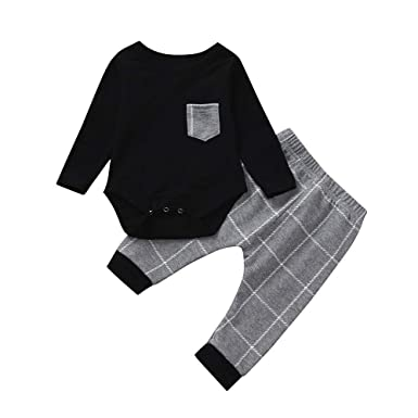 976f2f916 2pcs Toddler Baby Boys Clothes Set Long Sleeve Plaid Print Tops ...