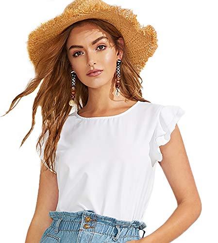 WDIRARA Women's Ruffle Layered Cap Sleeve Round Neck Casual Summer Top Blouse White M