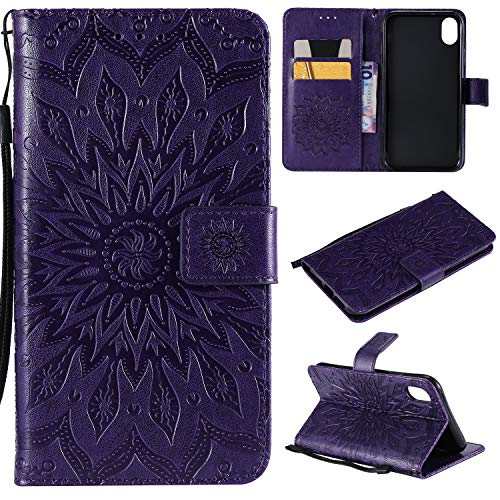 iPhone XR Cover,Stingna Sunflower Embossed PU Leather Wallet Stand Cover Card Slots Flip Case with Strap for Apple iPhone XR 6.1'' (Released in 2018) + Glass Screen Protector (Purple) ()