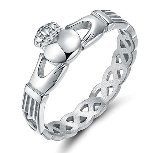 (SOMEN TUNGSTEN 316L Stainless Steel Women's Claddagh Irish Ring Love Heart Celtic Knot Crown Engagement Wedding Band 7.5)