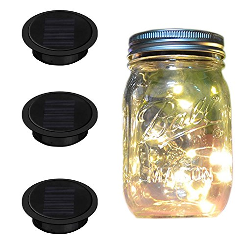 Mason Jar Lights Regular Mouth, iThird 3 Pack 10 LED Solar Powered String Lights Outdoor Warm White for Wedding Christmas Party Deck Porch Balcony Decorative Lighting(Jars Not (Led Mason Jar Lights)