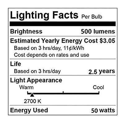 GU10 Halogen Light Bulb, MR16 Light Bulbs 120V/50W, Glass Cover & Dimmable, 500 Lumens Warm White, High Efficiency Halogen Flood Light Bulbs for Indoor (6 Pack)