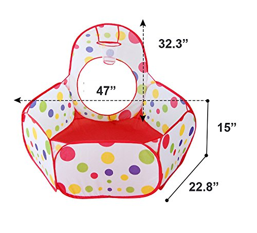 Polka Dot Children 3pcs Pop-up Pool-Tunnel-Teepee Play Tent, Easy Folding Kids Play Tent, Outdoor Gamehouse Toy Hut & Ocean Ball Pool with Basketball Hoop, Cubby-Tube-Teepee Kids Adventure Station