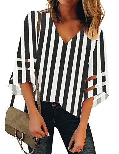 LookbookStore Women's V Neck Mesh Panel Blouse 3/4 Bell Sleeve Loose Top Black Vertical Striped Summer Shirt - Sleeve Striped V-neck Top