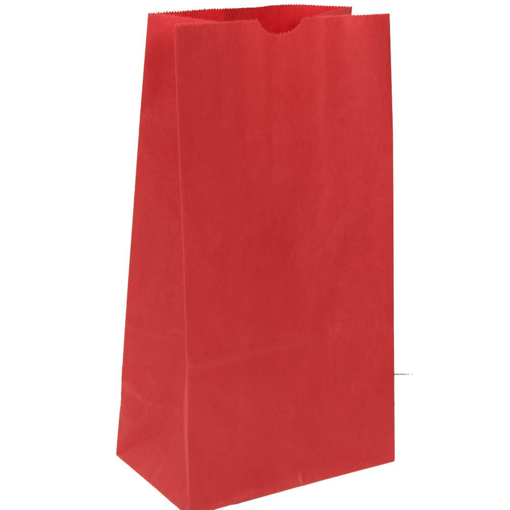 JAM Paper Lunch Bags - Medium - 5'' x 9 3/4'' x 3'' - Red Kraft - 500/Box