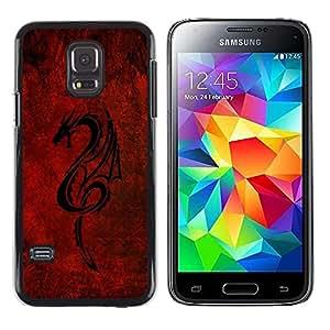 LECELL -- Funda protectora / Cubierta / Piel For Samsung Galaxy S5 Mini, SM-G800, NOT S5 REGULAR! -- Red Tribal Dragon --