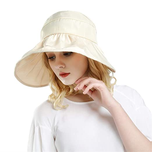 e30d0dd8 Women Sun Hats Ponytail Wide Brim UV Protection Adjustable Packable Summer  Beach Visor Cap Beige