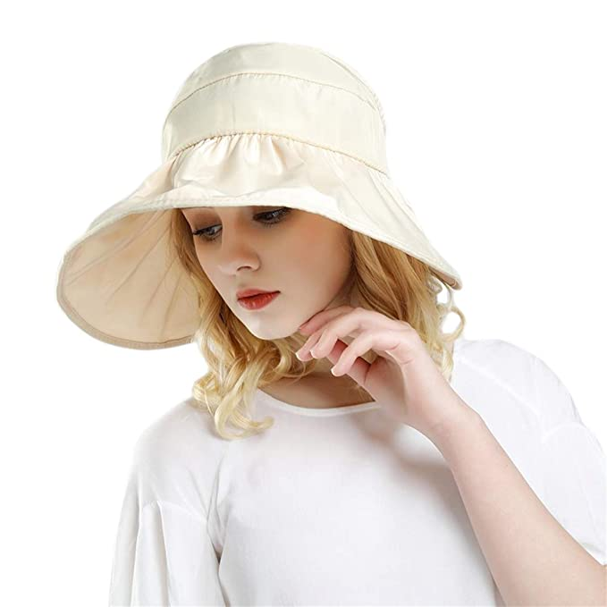 7f7c4d4ab5c Women Sun Hats Ponytail Wide Brim UV Protection Adjustable Packable Summer  Beach Visor Cap Beige