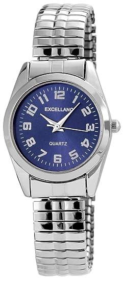 Reloj Mujer Azul Plata analógico de Cuarzo Metal y alemán Cordón Números Arábigos Reloj de Pulsera