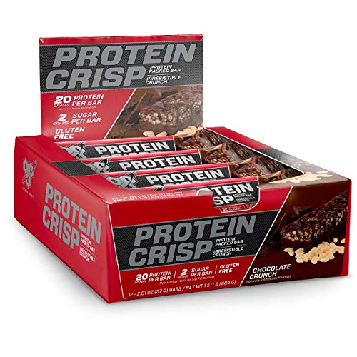 BSN Protein Crisp Bar by Syntha-6, Low Sugar Whey Protein Bar, 20g of Protein, Chocolate Crunch, 12 Count (Packaging may vary)