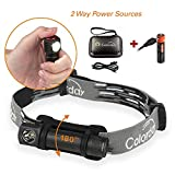 Ultralight Waterproof LED Headlamp Flashlight, 200 Lumens, 1.2oz, Compact, 2 Way Power Sources USB Rechargeable & AA battery, Metal body, Best gift for Running, Camping, Kids, Hiking, Cycling
