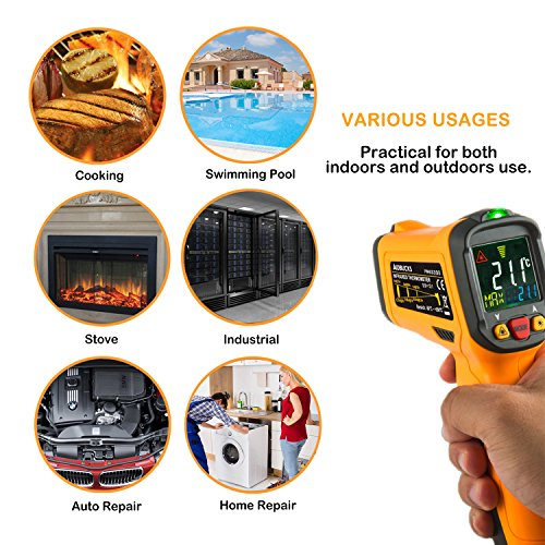 Infrared Thermometer AIDBUCKS PM6530B Digital Laser Non Contact Cooking IR Temperature Gun -58°F to 1022°F with Color Display 12 Points Aperture for Kitchen Food Meat BBQ Automotive and Industrial by AIDBUCKS (Image #4)