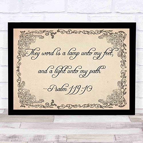 Bible Wall Art-Perfect Christian Gift-Psalm 119105 Thy Word Is a Lamp Unto My Feet and Light Unto My Path. Bible Wall Art-Perfect Christian Gift - with frame - Size16x12in -Bible Verse Inspired (Lamp Unto My Feet Light Unto My Path)