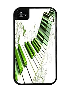 Green Piano Keys Artsy Black 2-in-1 Protective Case with Silicone Insert for Apple iPhone 4 / 4S