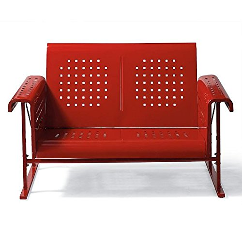 Vintage Collection Outdoor Patio Metal Glider Loveseat 2 Person Settee Red Collection Loveseat Glider