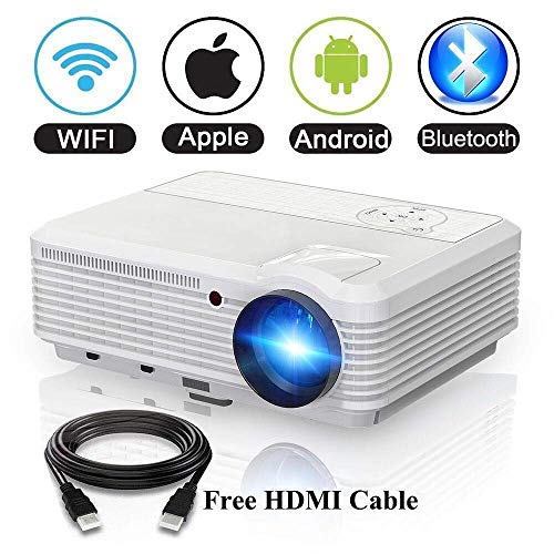 (Video Projector Wireless WiFi Bluetooth Android 6.0, HD LCD Projector 1080p 3900 Lumen 2018 Update Home Theater Multimedia Outdoor Movie Projector 50,000 Hour Lifespan with HDMI USB VGA 200