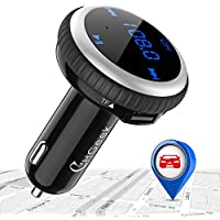 CHGeek Bluetooth FM Transmitter, Smart Car Locator, Wireless MP3 Player Radio Adapter, Hands-free Car Kit, 5V/2.1A Dual Port USB Car Charger, for iPhone X 8, Samsung Galaxy S8 S7, LG, HTC - Silvery