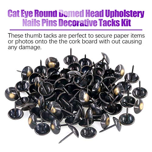 Swpeet 150Pcs 3 4 Cat Eye Round Domed Head Upholstery Nails Pins Decorative Furniture Tacks Kit Antique Brass Finish Thumb Tack Push Pins for Nickel Finish and Furniture DIY LE Reform