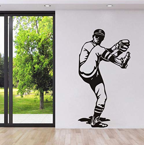 Baseball Pitcher Sports Wall Stickers Creative Sports Silhouette Wall Decal for Bedroom Living Room Home Decor 107X57Cm