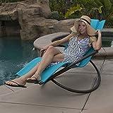 Belleze Orbital Foldable Lounge Chair, Ocean Blue