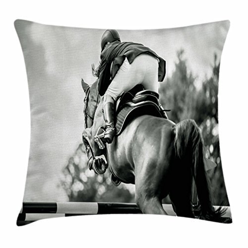 Sportsman Race (Horse Throw Pillow Cushion Cover by Lunarable, Equestrian Sports Theme Racehorse and Sportsman Competition Obstacle Hurdle Art, Decorative Square Accent Pillow Case, 28 X 28 Inches, Black and Grey)