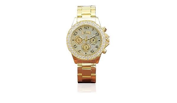 Loolik Relojes Mujer,Relojes Mujer Anillo Doble de Ginebra Six Stitches Grind Arenaceous El Font Diamond (Dorado): Amazon.es: Relojes