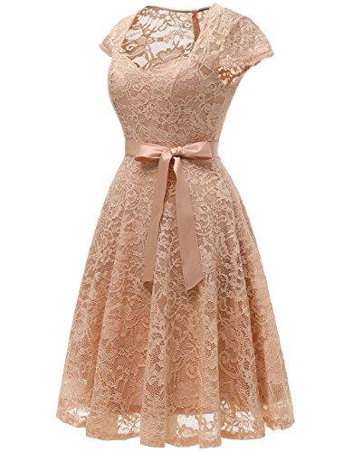 Corto Champán Encaje Transparente Hombro Mujer Aupuls Medio Espalda Y Elegante Vestido Escote Corazón De Fiesta UtwZq6H