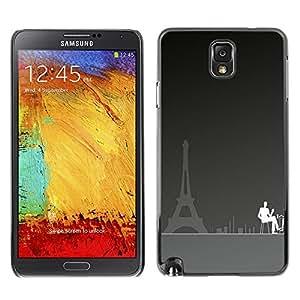 TECHCASE**Cubierta de la caja de protección la piel dura para el ** Samsung Galaxy Note 3 N9000 N9002 N9005 ** Paris Cafe Art Eiffel Tower City Coffee Painting