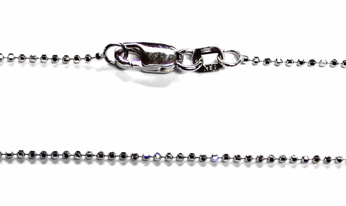 18kt 18K White Gold 16'' 18'' 20'' 1mm Diamond Cut Bead Ball Necklace Chain