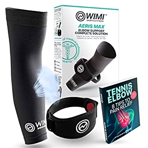 WIMI Sports & Fitness 1 Tennis Elbow Brace & 1 Copper Compression Sleeve (1-Count Each) - Eases Tennis Elbow & Arm Pain + Provides Relief & Support for Sore Muscles & Tendons