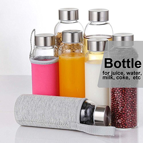 Glass Water Bottle 2 Pack Deluxe Set 18oz for Juicing or Beverage Storage - Included Stainless Steel Lids and Nylon Sleeve for Travel and Gym Use by StillBetter (Image #1)