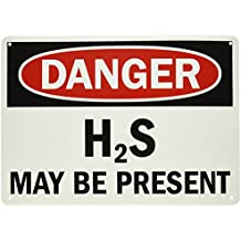"""SmartSign Plastic Sign, Legend """"Danger: H2S May Be Present"""", 10"""" high x 14"""" wide, Black/Red on White"""