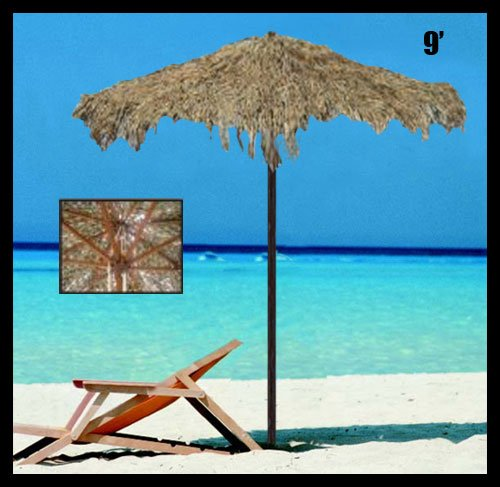 9 Foot Thatched Tiki Tropical Market Umbrella