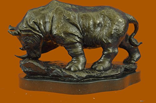 ...Handmade...European Bronze Sculpture Signed Original Milo Rhinoceros African White Rhino (XN-0401-UK) Bronze Sculpture Statues Figurine Nude Office & Home Décor Collectibles Sale Deal Gift