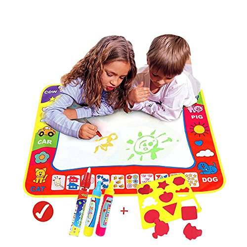 Magic Water Drawing Mat/Water Drawing Painting Mat(31.4in x 23.6in)with 4 Color, Magnetic Water Drawing Learning Painting Doodle Scribble Boards with Magic Pen for Kids (Tablets 60 Reveal)
