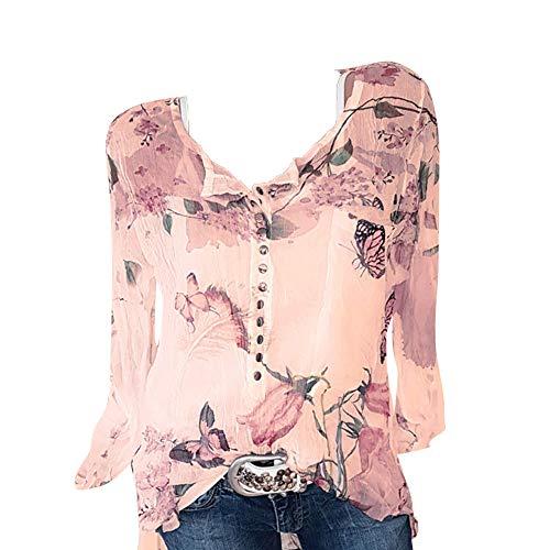 Striped Tab Sleeve Tee - Seaintheson Sexy Women's Tops, Women Casual Chiffon Irregular Hem Top Floral Printed Button T-Shirt Blouse Tee Orange