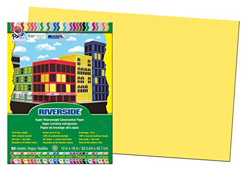Pacon Construction Paper, 12-Inches by 18-Inches, 50-Count, Yellow (103616)