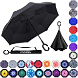 Z ZAMEKA Double Layer Inverted Umbrellas Reverse Folding Umbrella Windproof UV Protection Big Straight Umbrella Inside Out Upside Down for Car Rain Outdoor with C-Shaped Handle (New Full Black)